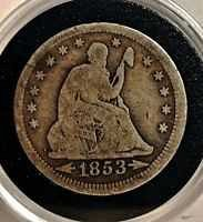 Price cut! 1853 Seated liberty quarter ++ historic coin!!!