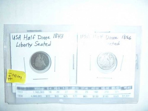 US Half Dimes - Liberty Seated 1843 & 1856