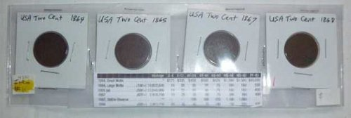 US Two Cent Set - 4 coins - 1864, 1865, 1867, 1868 (Set 02)