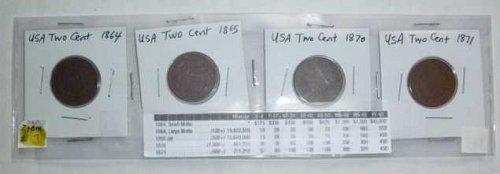 US Two Cent Set - 4 coins - 1864, 1865, 1870, 1871 (Set 3)