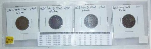 US Nickel Set - 4 coins - Liberty Head V - 1906, 1908, 1910,1911 (Set 1)