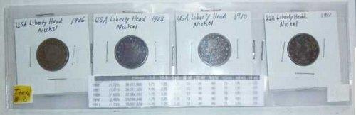 US Nickel Set - 4 coins - Liberty Head V - 1906, 1908, 1910,1911 (Set 1)