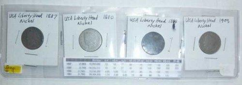 US Nickel Set - 4 coins - Liberty Head V - 1887, 1890, 1898, 1903 (Set 02)