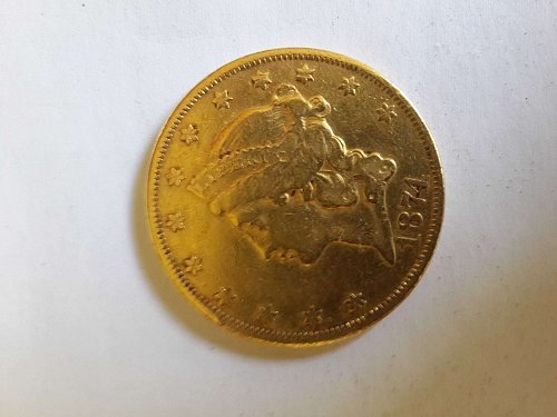 1874 P Coronet Head Gold $20 Double Eagle