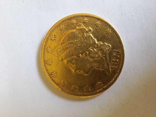 1874 P Coronet Head Gold $20 Double Eagle