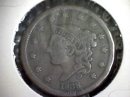 1838 P Coronet Liberty Large Cent