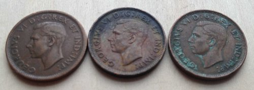 3 world war II canadian pennies