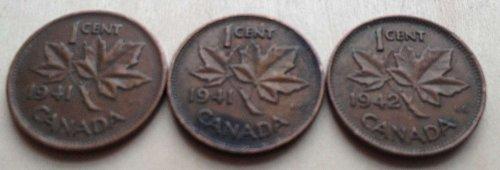 3 world war II canadian pennies