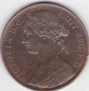 1865 GREAT BRITAIN ONE PENNY