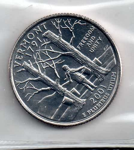 2001 D BU Vermont Washington Quarters #3