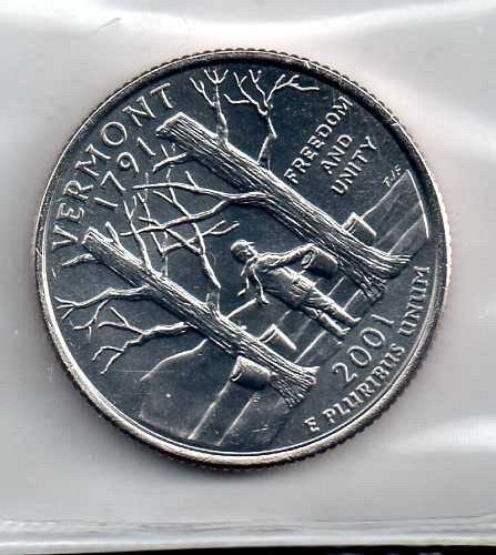 2001 D BU Vermont Washington Quarters #3