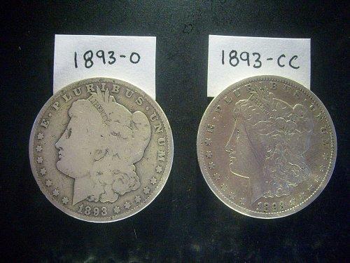 1893-O & 1893-CC Morgan Silver Dollars ***SCARCE DATE & MINT*** Coin Collection