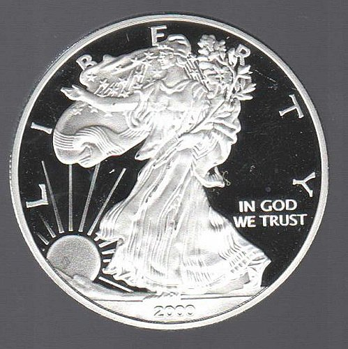 2000-W AMERICAN SILVER PLATED/CLAD AMERICAN SOUVENIR COIN (NOT SOLID SILVER)