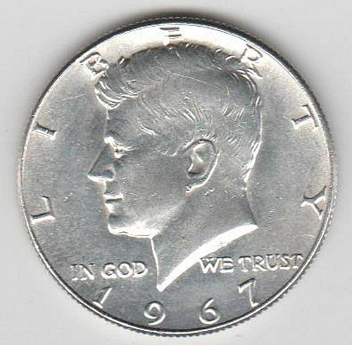 1967 US SILVER BEAUTIFUL KENNEDY HALF DOLLAR MINTED IN PHILADELPHIA