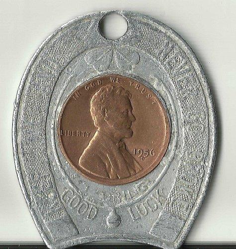 Encased 1956 D Lincoln Cent KEEP ME AND NEVER GO BROKE Horseshoe & 4 Leaf Clover
