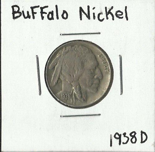 1938 D BUFFALO NICKEL VF