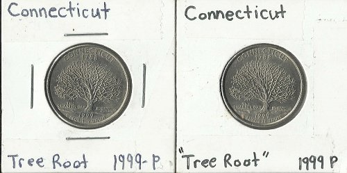 "2 CONNECTICUT 1999 P STATE QUARTER ERRORS DIE CRACK ""TREE ROOT"""