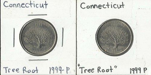 """2 CONNECTICUT 1999 P STATE QUARTER ERRORS DIE CRACK """"TREE ROOT"""""""