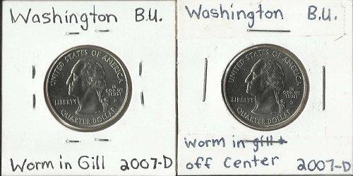 """2 WASHINGTON STATE QUARTER ERROR DIE CRACK """"WORM IN GILL"""" B.U."""
