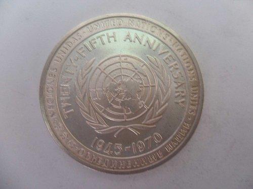 1945-1970 UNITED NATIONS TWENTY-FIFTH ANNIVERSARY-PEACE JUSTICE PROGRESS 1.25inc