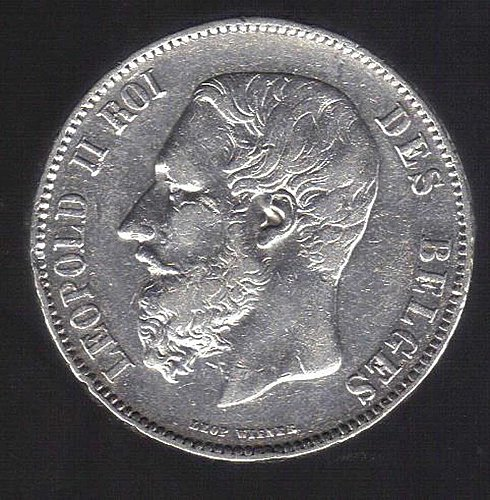 1873 5FRANCS FROM BELGUM SILVER (900.0) COIN BRILLIANT AND BEAUTIFUL