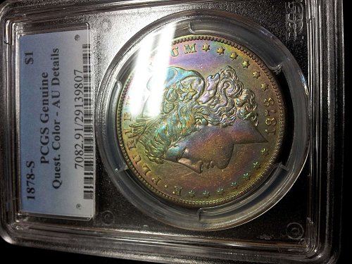 1878 S Morgan Silver Dollar    RAINBOW TONER