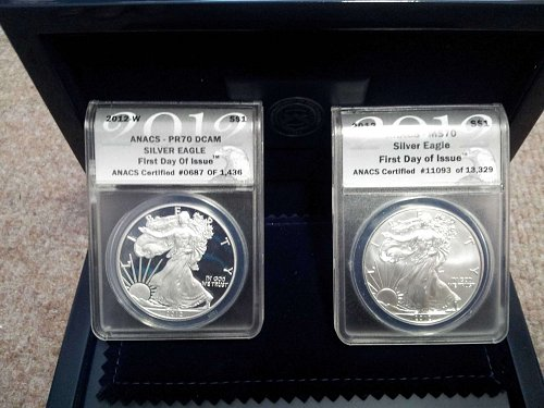 2012 SILVER EAGLE 2 COIN SET   PR70DCAM  -   MS70    BOTH  COINS FIRST DAY ISSUE