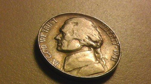 1941 - S Jefferson Nickel Good Condition