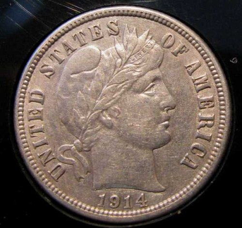 1914 Silver barber Dime  Sharp Full LIBERTY