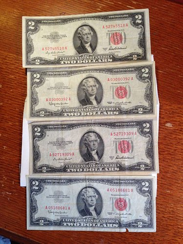 Red Seal Two Dollar Bills (4)