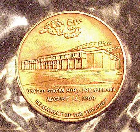 United States Mint Philadelphia August 14, 1969 - Commemorative Bronze Medal