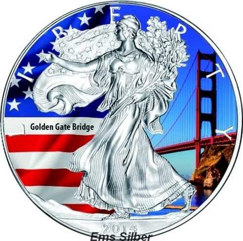 1 oz American Eagle colorized silver coin