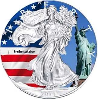 1 oz American Eagle colorized silver coin