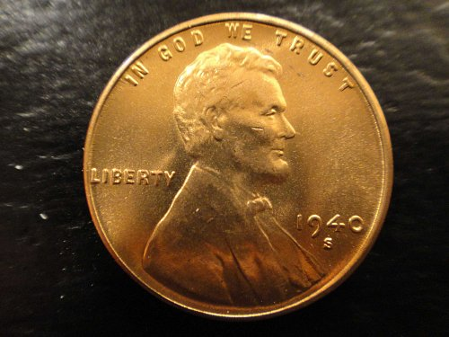 1940-S Lincoln Cent MS-64 (Near Gem) RED