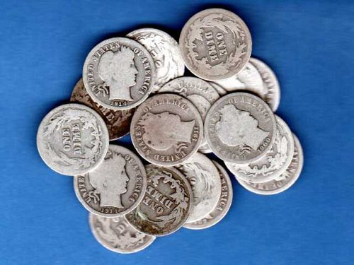 Barber Head Dimes 18 Mixed Dates