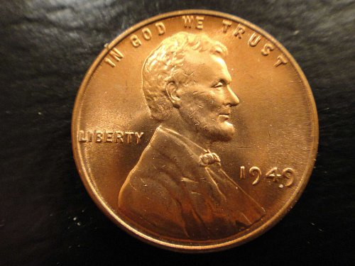 1949 Lincoln Cent MS-64 (Near Gem) RED