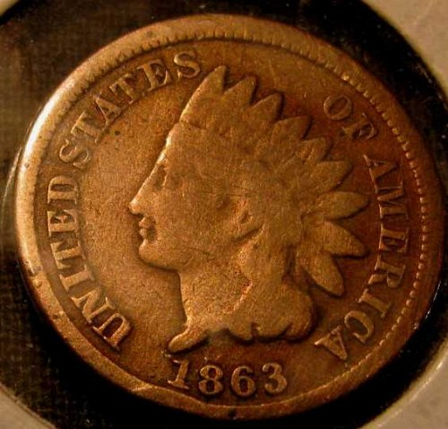 1863 Copper Nickel Indian hd. Cent  #20