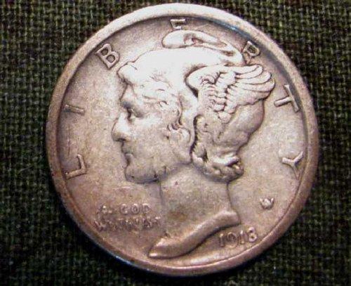 1918 D mercury Dime About uncirculated  #95  UNBELIEVABLE Sale!!