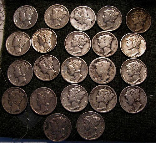 22 Mercury Dimes, 2 BU, many XF+  few mint's D's & S's  all nice untreated coins