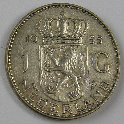 1955 Netherlands 1 Gulden KM#184