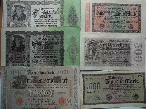 WORLD PAPER MONEY (GERMAN LOT OF 6 NOTES)