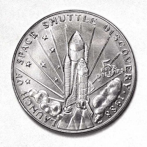 LAUNCH OF SPACE SHUTTLE DISCOVERY COMMEMORATIVE COIN $5 MARSHALL ISLAND