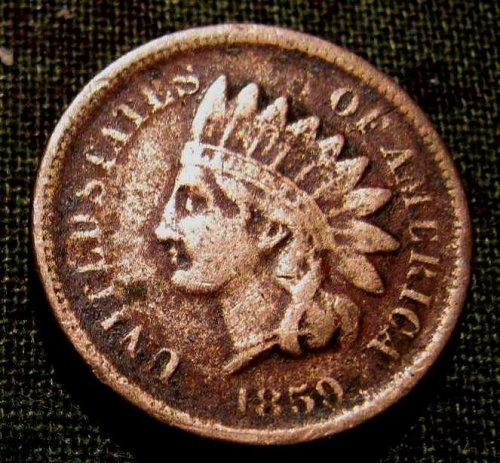 """1859 Copper Nickel Indian head cent """"LIBERTY"""" in headband  #21 special"""