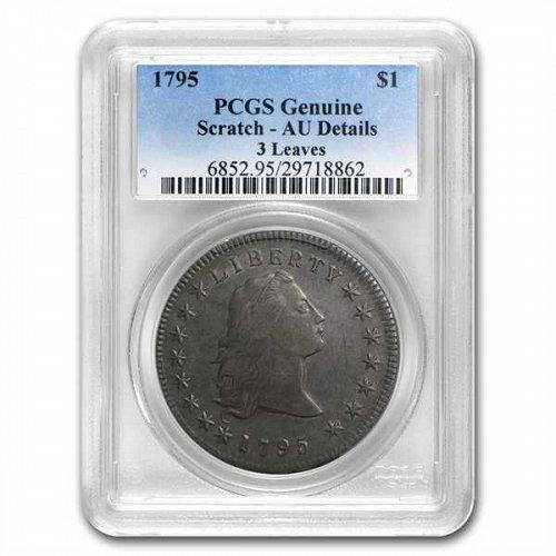 1795 Flowing Hair Dollar AU Details - PCGS - 3 Leaves