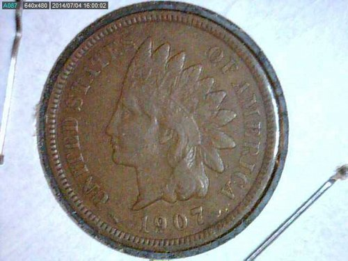 1907 Indian Head Penny..Die Break Rev