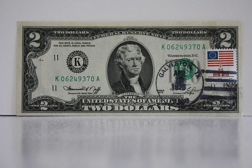 1976 TWO DOLLAR FIRST DAY ISSUE FEDERAL RESERVE NOTE