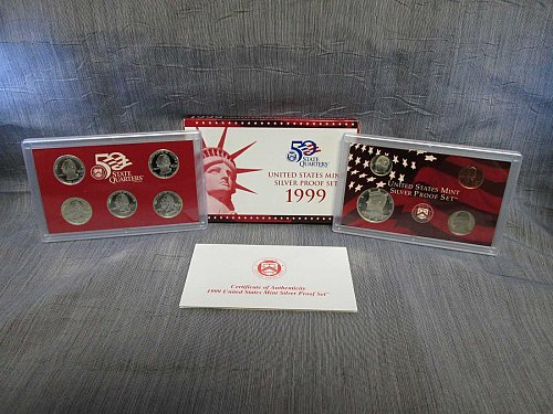 1999 S Proof Set, Silver, 9 Piece Set