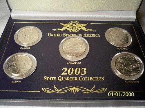2003 STATE* QUARTER COLLECTION-ILLINOIS-ARKANSAS-ALABAMA-MAINE-MISSOURI