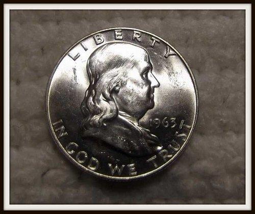 1963 - D Franklin Silver Half Dollar (BU)