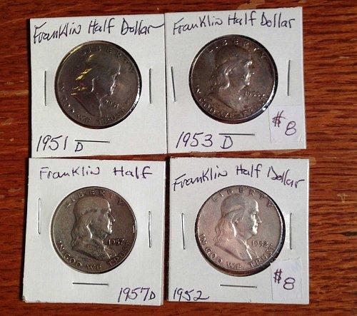 Lot of Franklin Half Dollars
